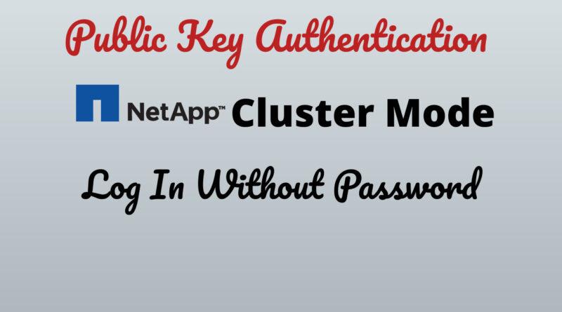 Public Key Authentication In NetApp Cluster Mode