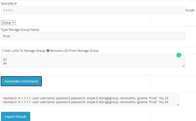 Naviseccli Command Remove VNX LUN From Storage Group