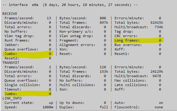 How To Check If NetApp Ports are sending Jumbo Frames